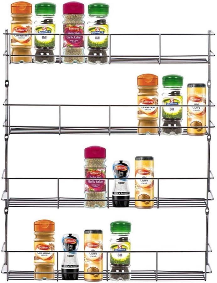 Plateado 4 capas Especiero Estante de Especias Estanter/ía Metal de Pared para Condimentos o Salsas