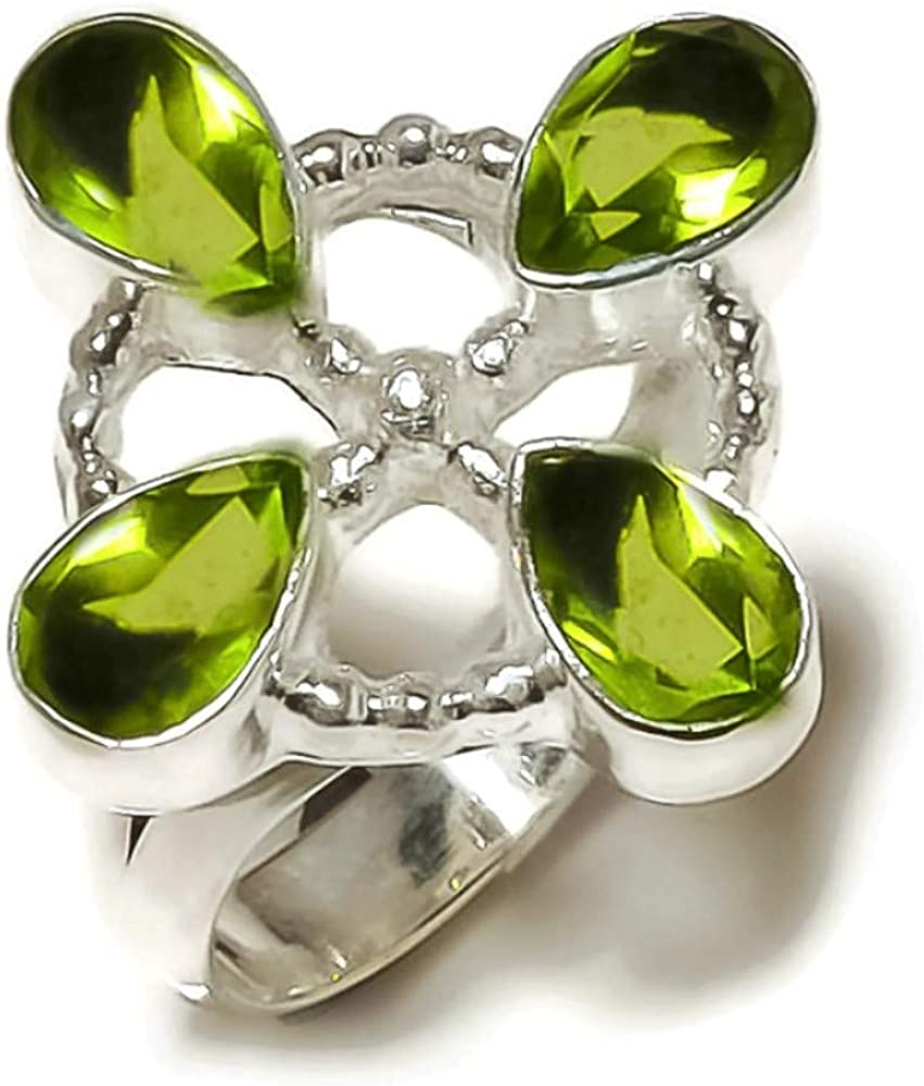 Jewels House Peridot Pear Gemstone Silver Plated Handmade Statement Pear Stone Ring US-7.5