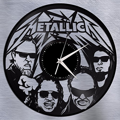 ForLovedGifts Metallica Design Vinyl Wall Clock - Handmade Gift for Any Occasion - Unique Birthday, Wedding, Anniversary, Wall décor Ideas for Any Space