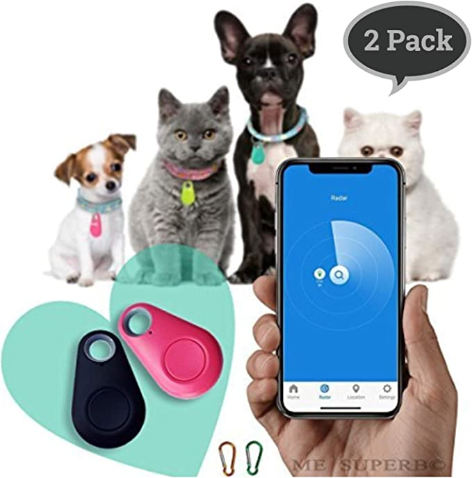 Smart Bluetooth Pet Anti-Lost Device Drop Shape Locator Tracker Black+White