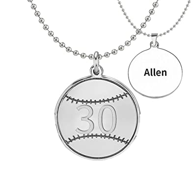 Ouslier personalized 925 sterling silver number baseball pendant ouslier personalized 925 sterling silver number baseball pendant name necklace custom made with any names men2323cm amazon aloadofball Images