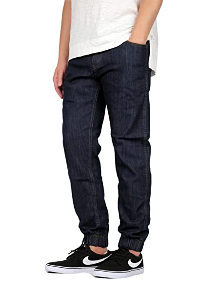7eb955c01 Mersenne Men's Slim Fit Denim Jogger Pants (34, Blue_Denim) at Amazon Men's  Clothing store: