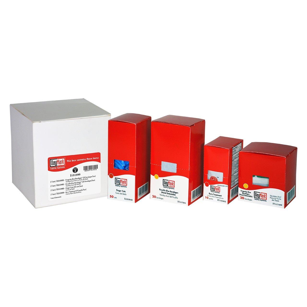 DayMark Standard First Aid Kit Refill Package 3, Fingertip Blue Vinyl Bandages, Knuckle Blue Vinyl Bandages, Finger Cots and First Aid/Burn Cream by DayMark Safety Systems