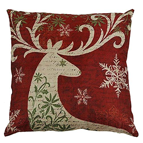 Pillow Case - Get Christmas Reindeer Elk Pillow Case 18 X 18inch Home Design Throw Red - Liner Quote Ocean High Silk Body Vintage Collection Toddler Easter Embroidery Little Allergen Skin Qui