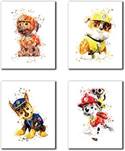 """Cartoons Paw Patrol Theme Art Paintings Set of 4 (8""""X10"""" Canvas Picture) Children Boys Room Decor Friends Birthday Gifts Paw Patrol Party Game Room Kindergarten Art Oil Art Prints Frameless"""