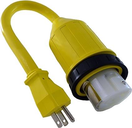 12 Ga Female Twist Lock to Male 120V Plug Power Cord Adaptor Extension Pigtail