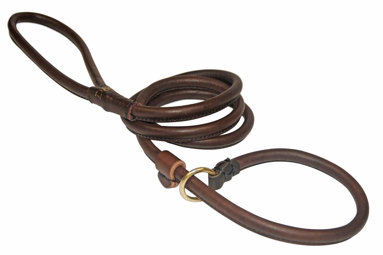 Dean & Tyler Rolled Slip Brass Snap Leash, 4-Feet by 1 2-Inch, Brown