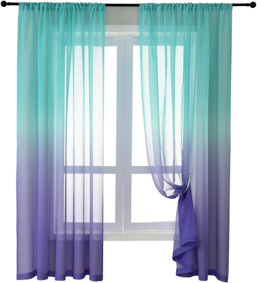 HomeyHo Turquoise Sheer Ombre Curtains 84 Inch Length 2 Panels for Girls Bedroom Nursery Baby Living Room Faux Linen Gradient Window Drapes and Curtains Decorative Blue and Purple 52 x 84 Inch