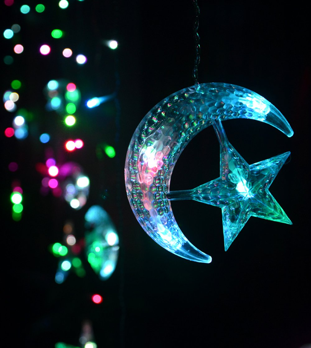 Led Star Curtain Lights, Moon Star String Light 138 Leds 250CM Length with 8 modes plug in Fairy Lights Christmas Window Curtains Light for Home decoration (Multicolor)