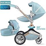 Hot Mom Silla de paseo Reversibilidad rotación multifuncional de 360 grados con asiento y capazo 2018 Nueva actualización - F023 Azul