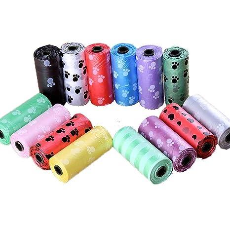 F-blue 10 Rollo portátil degradable residuos de Pet Púa Impulso del Perrito de la impresión Limpiar Bolsa de Bolsa de Basura de Basura (Color al Azar)