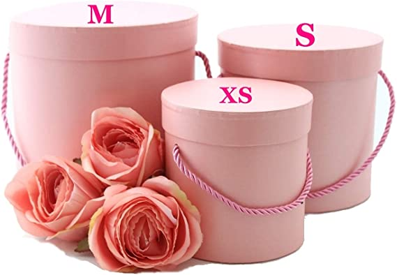 Juego de 3 redondas dekoschac hteln en color rosa con cordón rosa, Deko Box, flores, caja, Sombrerera: Amazon.es: Hogar