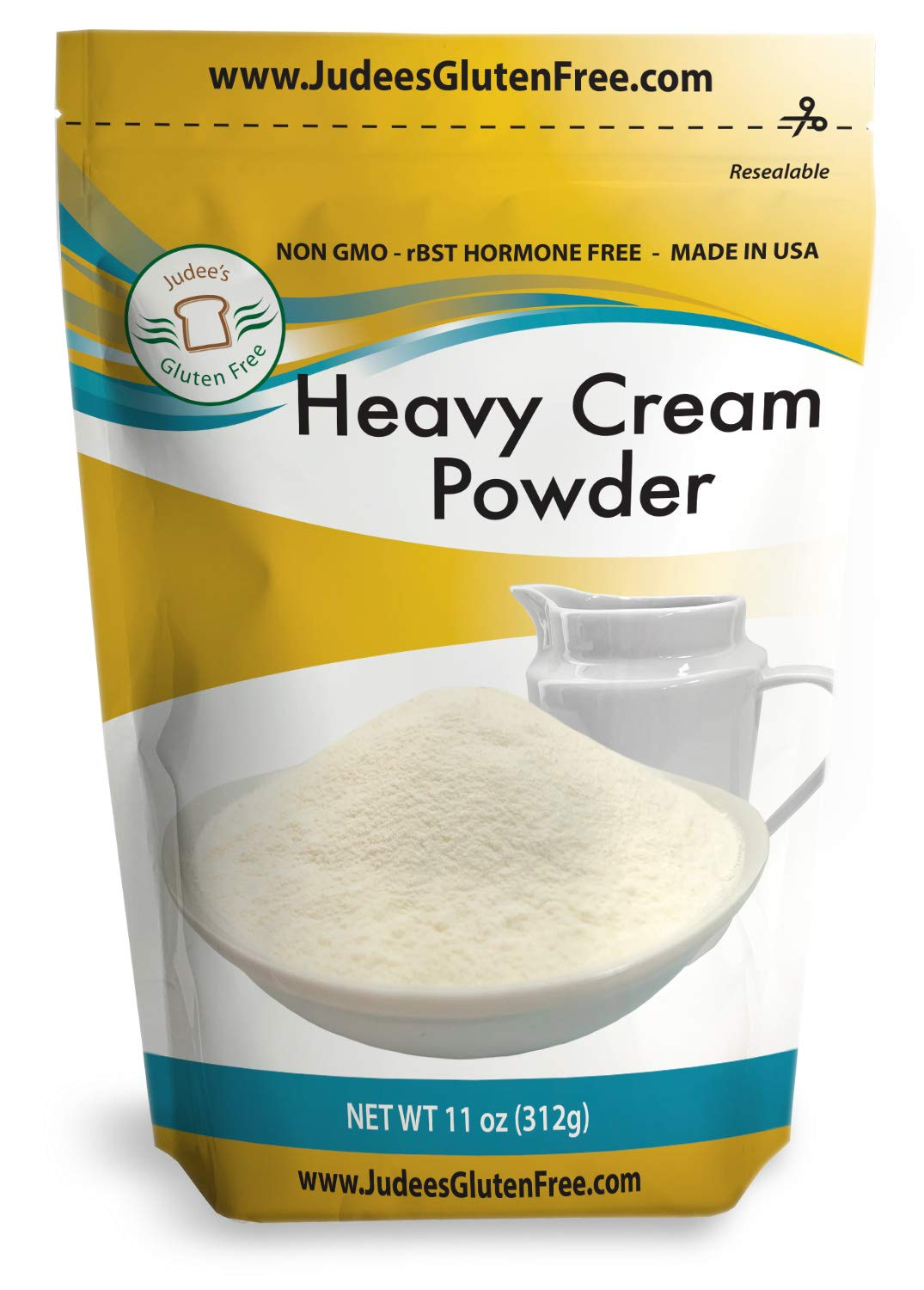 Judee's Heavy Cream Powder(11 oz): GMO and Preservative Free: Produced in the USA: Keto Friendly, Add Healthy Fat to Coffee, (24 oz also) Freshness Locked in Package