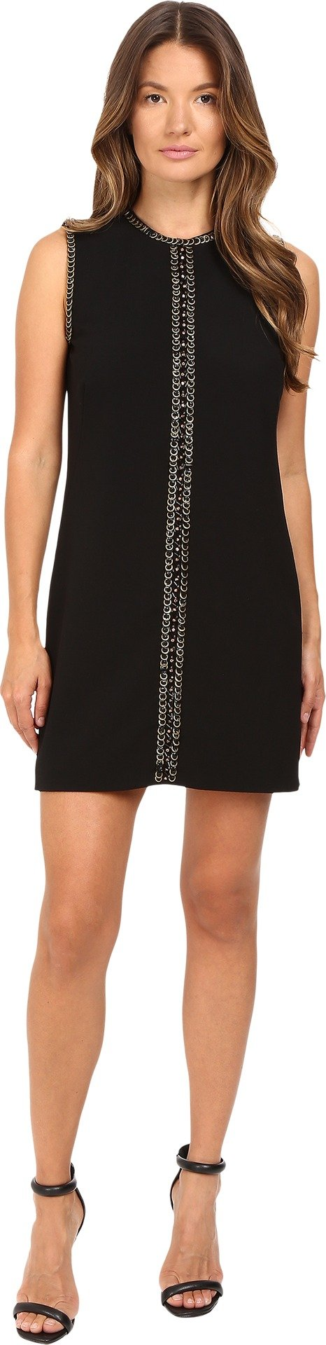 DSQUARED2 Women's Stretch Wool Chaine Embroidery Sleeveless Mini Dress, Black, 40 (US 2)