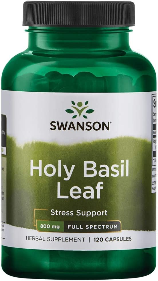 Swanson Holy Basil Leaf (Tulsi) Healthy Response to Stress Support Emotional Well-Being Supplement (Ocimum Sanctum) (800 mg per 2 Capsule Serving) 400 mg 120 Capsules (Caps)