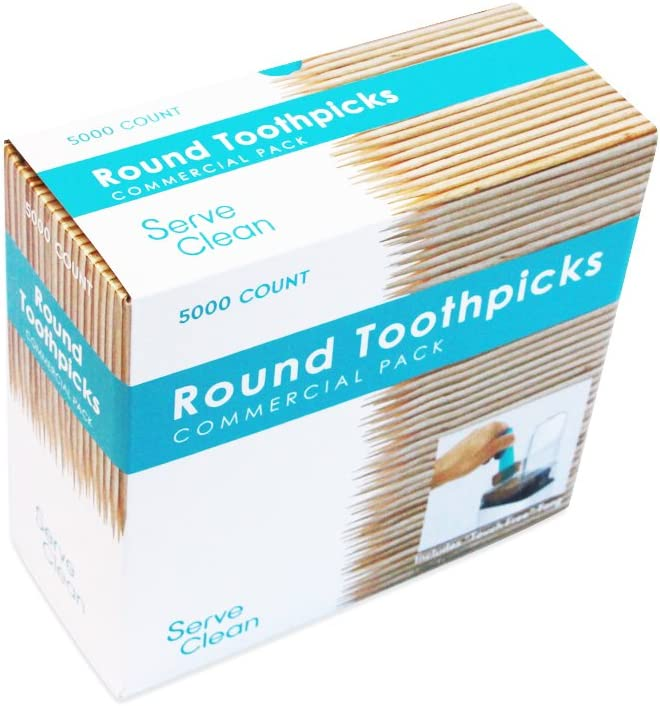 Serve Clean Round Toothpicks, 5000 Count