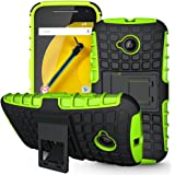 Moto E (2nd Gen) Case,Sophmy Hybrid Dual Layer Armor Protective Case Cover with kickstand for Motorola Moto E (2nd Generation / 2015 Release) (green)