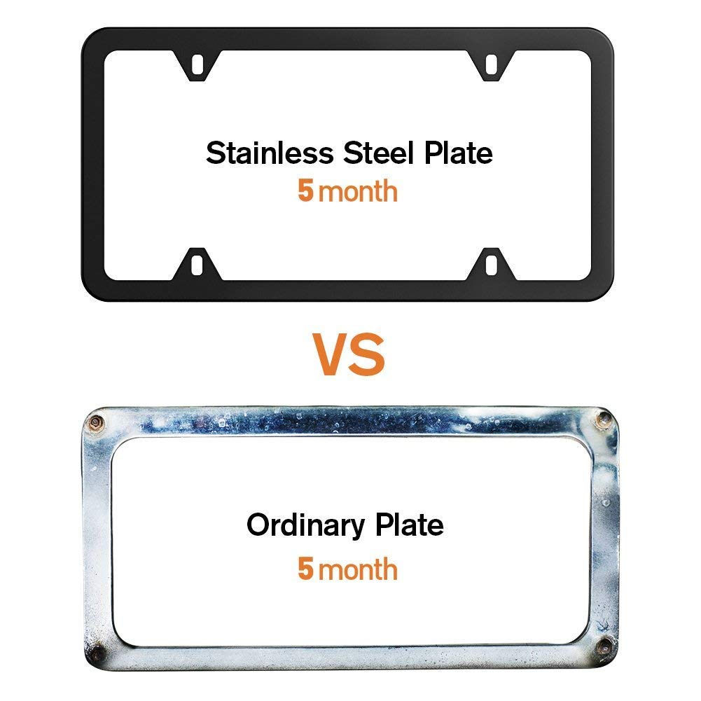 2 PCS Stainless Steel Car Licence Plate Covers Slim Design with Bolts Washer Caps for US Standard Karoad Black License Plate Frames