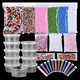 36 Pack Slime Making Kit Supplies 6pack Foam Beads 51500pcs,10pack Slime Storage Containers,12 Glitter Shake Jars,3pack Fishbowl Beads,2000pcs Fruit Slices for Kids DIY Craft Wedding Party Decoration