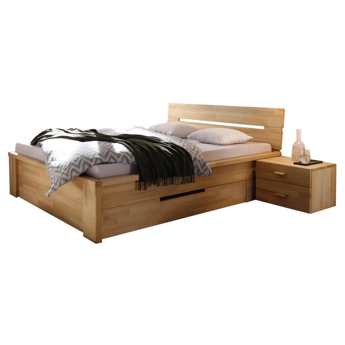 Bett Holzbett Doppelbett Roros 200 X 200 Cm 2 Schubladen