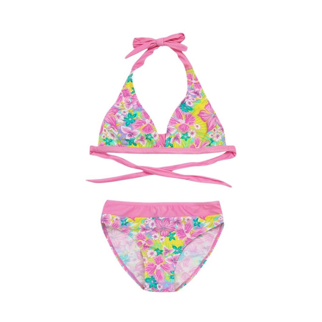 Girls Swimsuit, for 4-10 Years Old, 2pcs Infant Kids Sleeveless Floral Print Backless Halter Swimwear Bikini Set Baby Outfits Clode-1006