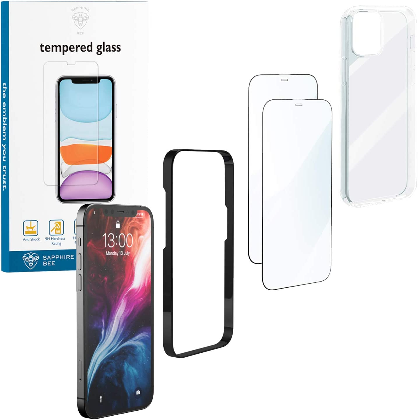 SAPPHIRE BEE Premium All-Around Protection Designed for iPhone 12 & 12 PRO Edge to Edge 9H Shatterproof Glass with Shock-Proof TPU Case - 1x Case + 2X Glass