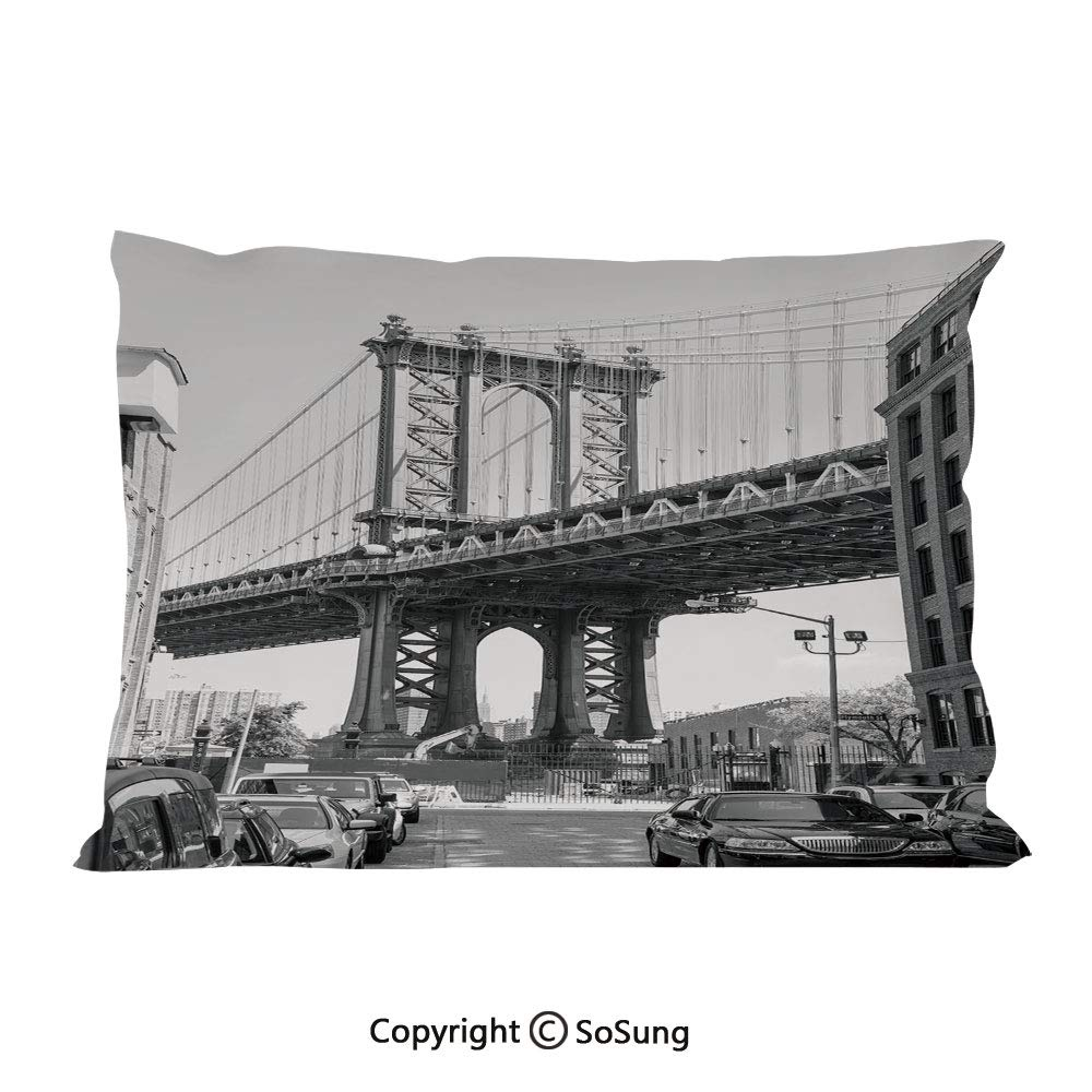 "Landscape Bed Pillow Case/Shams Set of 2,Brooklyn New York USA Landmark Bridge Street with Cars Photo Queen Size Without Insert (2 Pack Pillowcase 30""x20""),Black White and Charcoal Grey"