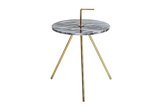 DuNord Design - Mesa Auxiliar (Metal y mármol, Redonda, 36 cm ...