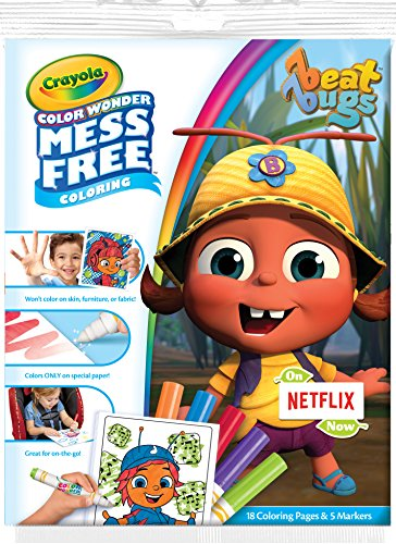 Crayola Color Wonder Pad & No Mess Markers, Beat Bugs, Gift for Kids, Age 3, 4, 5, 6