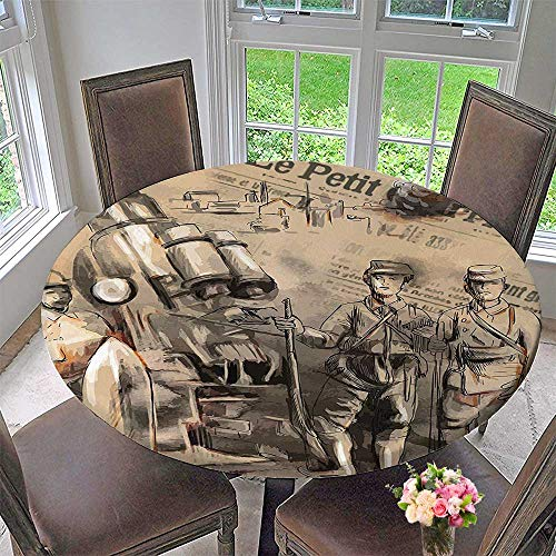 Mikihome Round Premium Table Cloth War Siers Stand Before Howitzer Courage in Warfare Scenery from Battle Black Perfect for Indoor, Outdoor 31.5