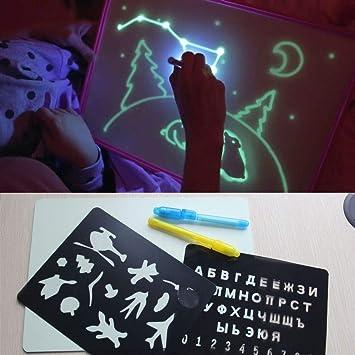 A4 Pizarra con luz en la Oscuridad para niños, Juego de Dibujos ...