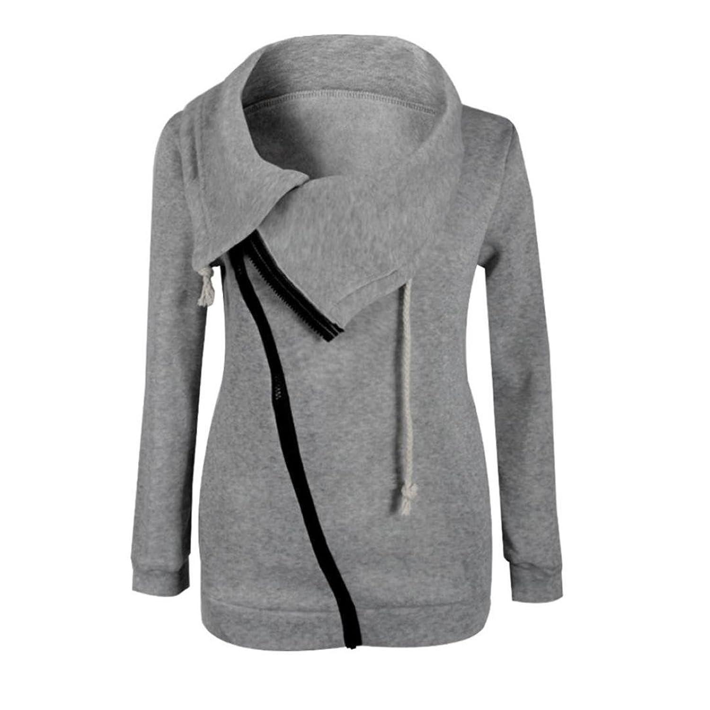 Lisingtool Women Zipper Blouse Hoodie Hooded Sweatshirt Coat Jacket Pullover