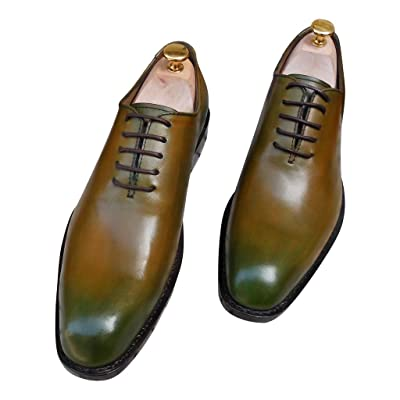 100% Genuine Leather Handmade Oxfords Men's Handcraft Dress Formal Shoes Yellow Large/Plus Size