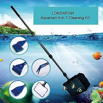 LONDAFISH Herramientas de Limpieza para el Kit de Limpieza de Acuario para el Kit de Limpieza del Tanque de Vidrio del Tanque de Peces 6-en-1: Amazon.es: ...
