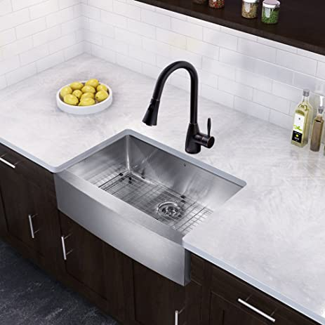 VIGO 30 Inch Farmhouse Apron Single Bowl 16 Gauge Stainless Steel Kitchen  Sink With Aylesbury Antique
