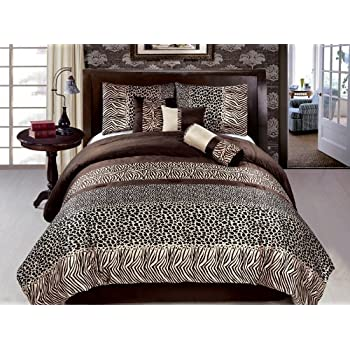 New 7 Pc Full Size (Double) Zebra Leopard Safari Bedding Brown Black Short  Fur