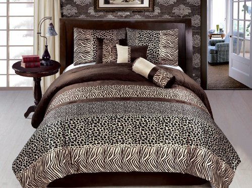 Grand Linen 7 Piece New Zebra Leopard Safari Bedding Short Fur Comforter Set, Brown Black, Queen