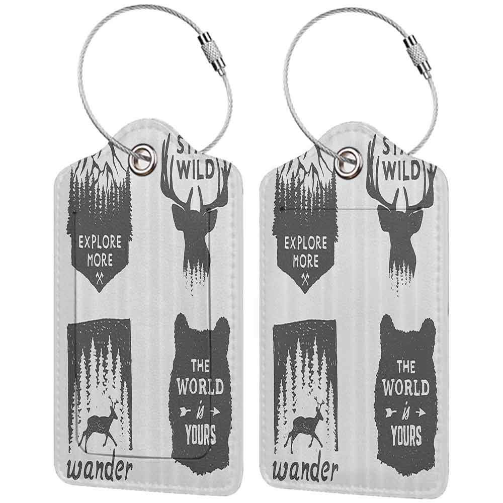 Modern luggage tag Quotes Wilderness Emblems Sign Stay Wild Wander the World is Your Arrow Pine Image Print Suitable for children and adults Dimgray Platinum W2.7 x L4.6