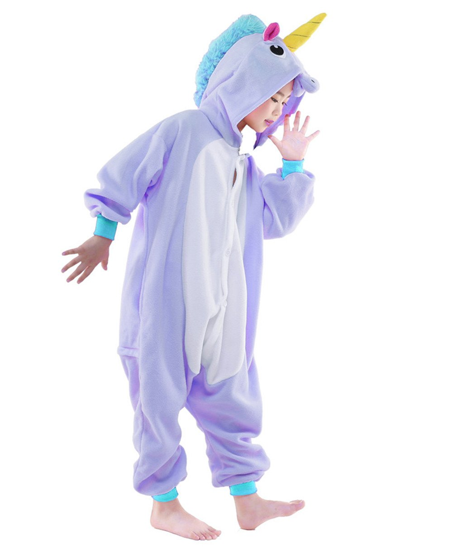 Newcosplay Homewear Childrens Unicorn Pajamas Sleeping Wear Animal Onesies Cosplay Costume (125#, Purple Unicorn)
