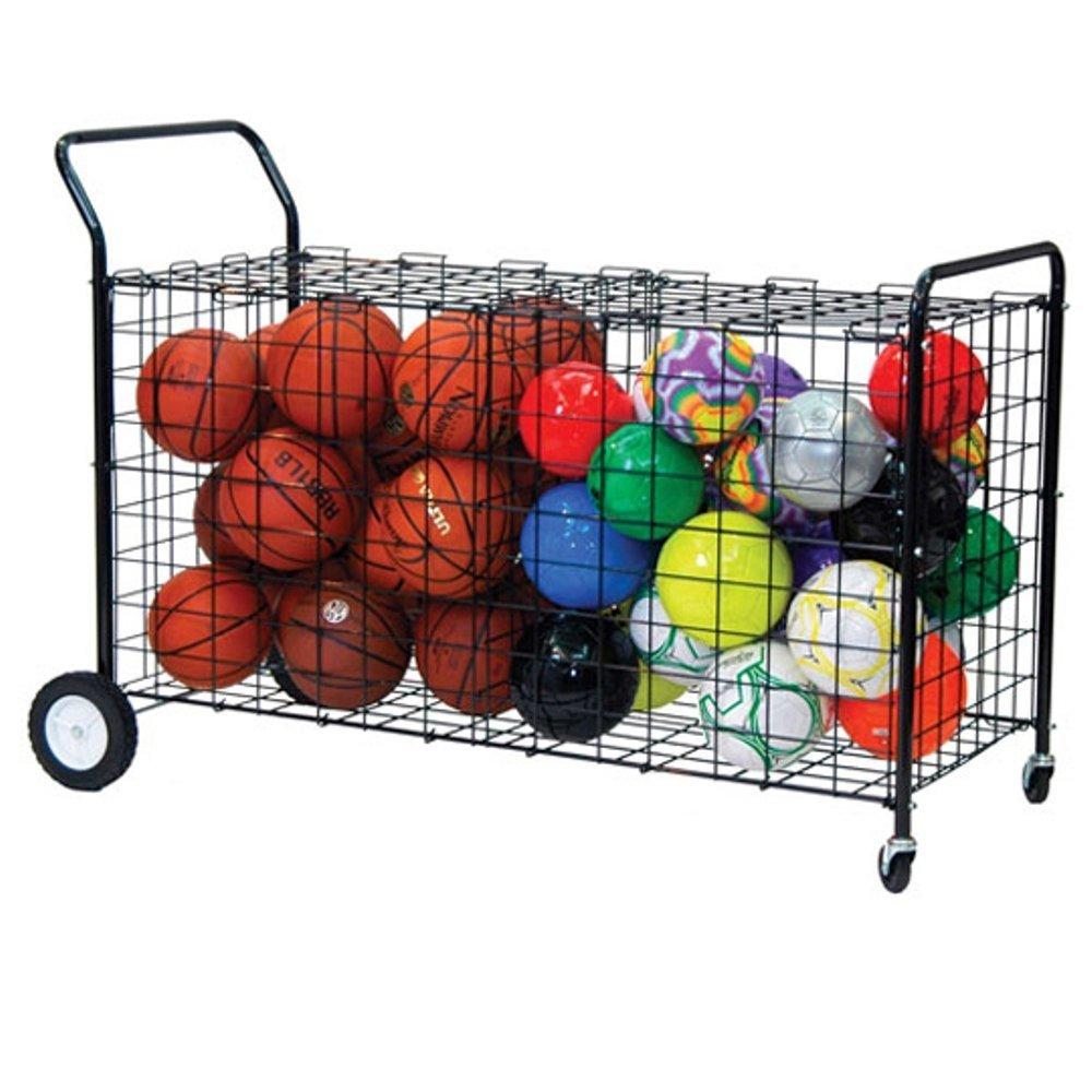 Champion Sports Double Sided Wheeled Ball Locker Cart, Black
