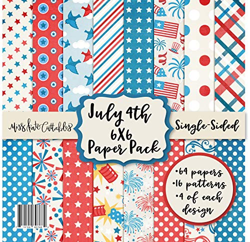 6X6 Pattern Paper Pack - July 4th - Card Making Scrapbook Specialty Paper Single-Sided 6