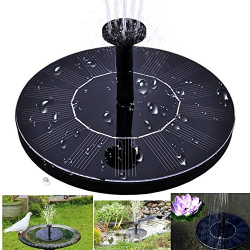 Solar Bird Bath Fountain Pump 1.4W Solar Panel Water Floating Pump Kit with Four Different Spray for Pond, Pool and Garden Decoration by Mgrowth