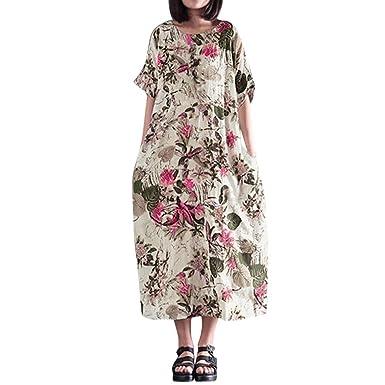 e7ba2ae2fa5 Womens Summer Cotton Linen Maxi Dress Vintage Floral Short Sleeve Side  Pockets Soft Loose Long A-line Shift T-Shirt Dresses Kaftan Plus Size   Amazon.co.uk  ...