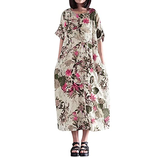 446f63d8495 Amazon.com  Usstore Womens Maxi Dress Short Sleeve Loose Summer Floral  Printed Elegant O-Neck A-line Plus Size Beach Trip Dress  Clothing