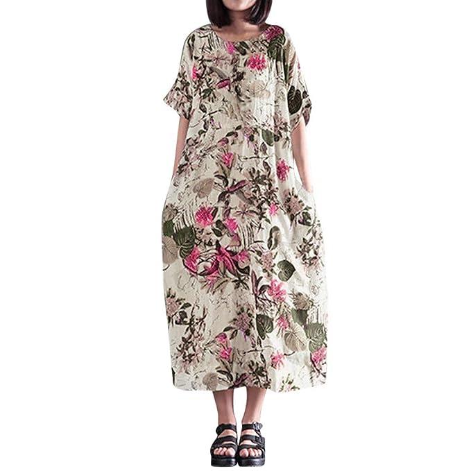 22d250d228 Womens Summer Cotton Linen Maxi Dress Vintage Floral Short Sleeve Side  Pockets Soft Loose Long A-line Shift T-Shirt Dresses Kaftan Plus Size   Amazon.co.uk  ...