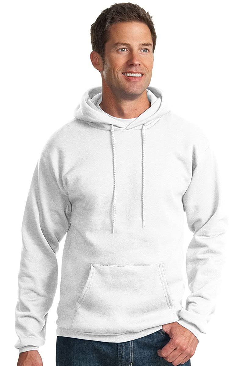 Port /& Company Mens Pullover Pocket Hooded Sweatshirt White X-Large Big
