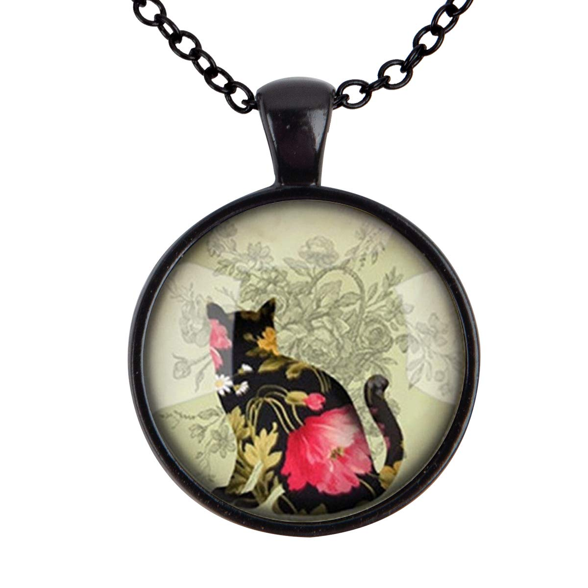 Family Decor Flower Back Cat Pendant Necklace Cabochon Glass Vintage Bronze Chain Necklace Jewelry Handmade