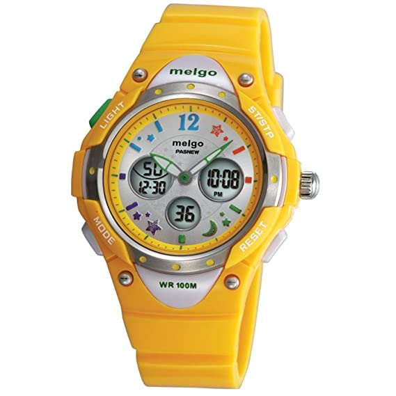 Jewtme Pasnew Boys Grils LED Waterproof 100m Dual Time Unisex Children Outdoor Sport Watch (Yellow