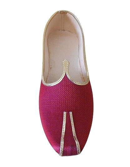 kalra Creations Hombre tradicional indio seda zapatos de boda, color Rojo, talla 40.5 EU M