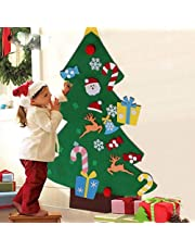 3FT DIY Felt Christmas Tree Set with 26pcs Detachable Ornaments Kids Toddlers Xmas Gift for Christmas Wall Window Door Decorations Ornaments Hanging Decal Sticker
